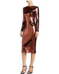 Dress the Population - Emery Long-sleeve Sequin Dress - Lyst