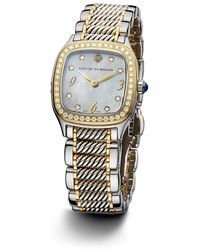 David Yurman - Thoroughbred 25mm Stainless Steel 18k Gold and Sterling Silver Quartz Timepiece with Diamonds - Lyst