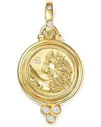 Temple St. Clair - 18k Yellow Gold Lion Coin Diamond Pendant - Lyst