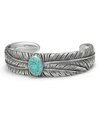 David Yurman - Southwest Wide Feather Cuff Bracelet With Turquoise - Lyst