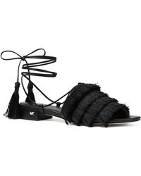 eb3e2b68f175d4 MICHAEL Michael Kors - Women s Gallagher Fringed Ankle Tie Sandals - Lyst