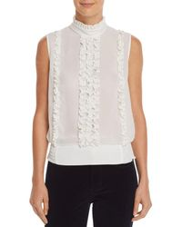 FRAME - Ruffled Button-back Top - Lyst