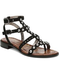 eac6a7df085764 Sam Edelman Women s Elisa Studded Suede Sandals in Red - Lyst