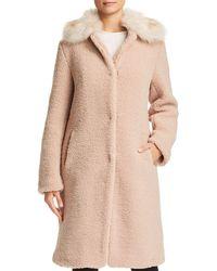 Bernardo - Faux Shearling Coat With Faux Fur Collar - Lyst