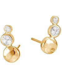 John Hardy - Hammered Gold Diamond Linear Stud Earrings - Lyst