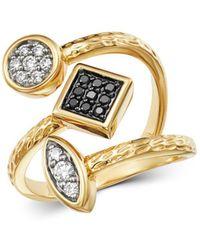 Bloomingdale's - Diamond & Black Diamond Geometric Ring In 14k Yellow Gold - Lyst