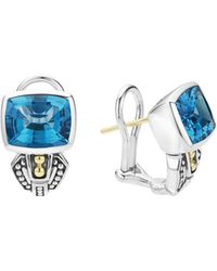 Lagos - 18k Gold And Sterling Silver Caviar Colour Stud Huggie Drop Earrings With Swiss Blue Topaz - Lyst