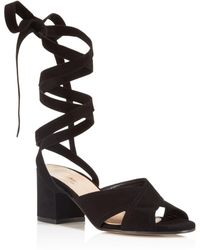 Charles David - Blossom Lace Up Mid Heel Sandals - Lyst