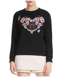 Maje - Telbi Embroidered Floral Heart Sweatshirt - Lyst