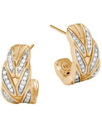 John Hardy - Modern 18k Gold & Diamond Earrings - Lyst