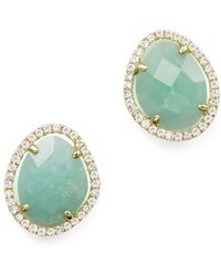 Meira T - 14k Yellow Gold Amazonite Stud Earrings With Diamonds - Lyst