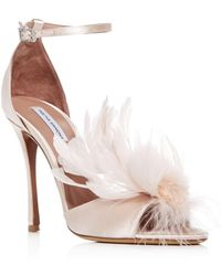 Tabitha Simmons - Women's Satin & Feather High - Heel Sandals - Lyst