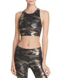 Aqua - Athletic Metallic Camo Sports Bra - Lyst