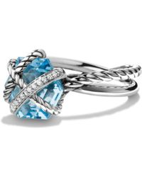 David Yurman | Petite Cable Wrap Ring With Blue Topaz And Diamonds | Lyst
