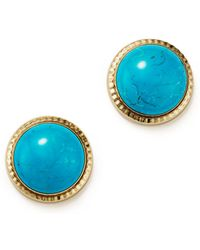 Bloomingdale's - Turquoise Bezel Set Stud Earrings In 14k Yellow Gold - Lyst