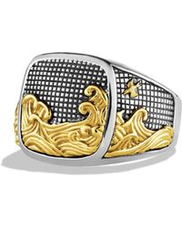 David Yurman - Waves Signet Ring With Gold - Lyst