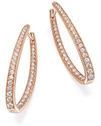 Bloomingdale's - Diamond Inside Out Oval Hoop Earrings In 14k Rose Gold, 1.0 Ct. T.w. - Lyst