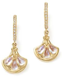 Temple St. Clair - 18k Yellow Gold Lotus Drop Earrings With Royal Blue Moonstone And Diamonds - Lyst