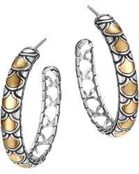 John Hardy - Sterling Silver & 18k Gold Naga Medium Hoop Earrings - Lyst