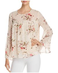 B Collection By Bobeau - Rayes Floral-print Bell-sleeve Top - Lyst