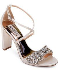 Badgley Mischka - Women's Harper Embellished Satin Crisscross Strap Sandals - Lyst