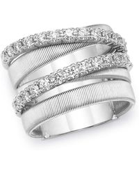 Marco Bicego - 18k White Gold Masai Diamond Crossover Ring - Lyst