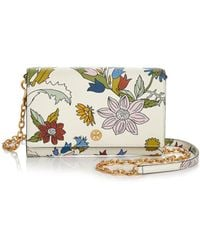 Tory Burch - Robinson Floral Leather Chain Wallet - Lyst