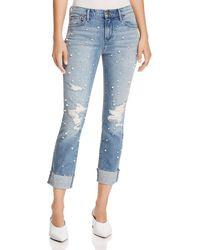 Aqua - Embellished Distressed Straight-leg Jeans In Light Wash - Lyst