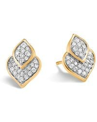 John Hardy - 18k Yellow Gold Legends Naga Pavé Diamond Stud Earrings - Lyst
