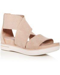 Eileen Fisher - Women's Perforated Nubuck Leather Crisscross Platform Sandals - Lyst