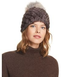 Jocelyn - Fox Fur Pom-pom & Knit Mink Fur Beanie - Lyst