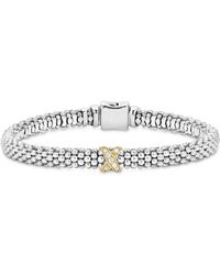Lagos - 18k Gold And Sterling Silver X Collection Rope Bracelet With Diamonds - Lyst