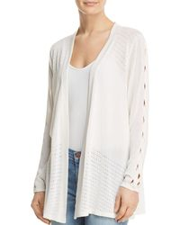 Avec - Twist Sleeve Pointelle Cardigan - Lyst