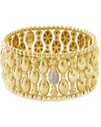 Hulchi Belluni - 18k Yellow Gold Tresore Diamond Banded Stretch Bracelet - Lyst