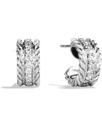David Yurman | Cable Classics Extra Small Earrings With Diamonds | Lyst