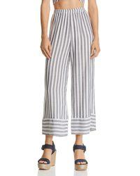 Aqua - Striped Cropped Wide-leg Trousers - Lyst