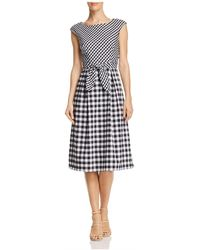 Adrianna Papell - Mixed Gingham Dress - Lyst