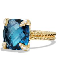 David Yurman - Châtelaine Ring With Hampton Blue Topaz And Diamonds In 18k Gold - Lyst