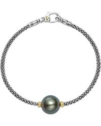 Lagos - 18k Gold And Sterling Silver Luna Cultured Freshwater Black Pearl Single Station Bracelet - Lyst