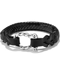 David Yurman - Maritime Leather Woven Shackle Bracelet In Black - Lyst