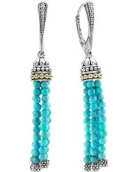 Lagos - 18k Gold And Sterling Silver Caviar Icon Tassel Earrings With Turquoise - Lyst