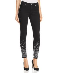 7 For All Mankind - Embellished Ankle Skinny Jeans In B(air) Black With Rhinestones - Lyst