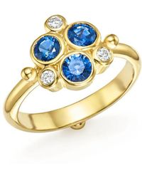 Temple St. Clair - 18k Yellow Gold Sapphire And Diamond Trio Ring - Lyst