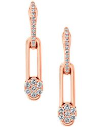Hulchi Belluni - 18k Rose Gold Diamond Tresore Single Linear Earrings - Lyst