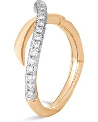 John Hardy - 18k Yellow Gold Bamboo Pavé Diamond Ring - Lyst