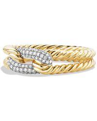 David Yurman - Petite Pavé Loop Ring With Diamonds In 18k Gold - Lyst