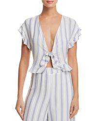 Sage the Label - Alexa Plunging Tie-front Top - Lyst