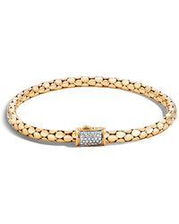 John Hardy - 18k Yellow Gold Dot Slim Chain Bracelet With Diamonds - Lyst