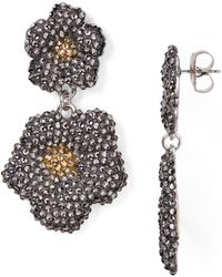 Roni Blanshay - Swarovski Crystal Flower Drop Earrings - Lyst