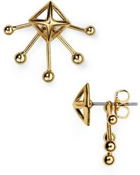 Rebecca Minkoff - Pyramid Fan Stud And Jacket Earrings - Lyst